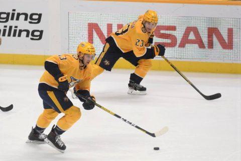Nashville Predators defeat the Boston Bruins 4-3. (Michael Strasinger)