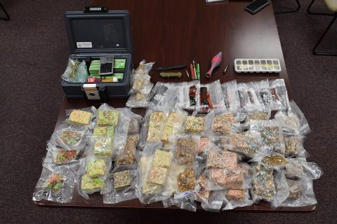 14 pounds of edibles, two pounds of gummies, 18 THC vape pen refills, marijuana, drug paraphernalia, baggies, a scale, and prescription drugs were found in Andre Timmerman's vehicle when searched by Montgomery County Sheriff's Office investigators.