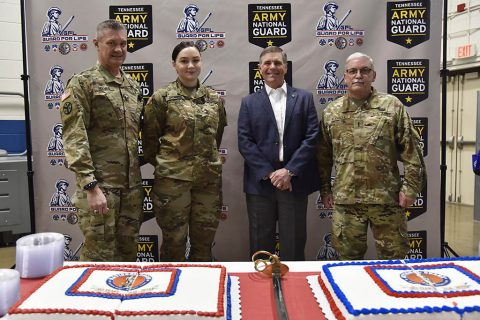 The Tennessee Military Department celebrated the National Guard's 383rd birthday with a cake cutting ceremony on December 13, 2019  (L to R) Maj. Gen. Jeff Holmes, Tennessee's Adjutant General, Pfc. Lindsey Jackson with the 301st Troop Command, retired Chief Warrant Officer 5 Robert Huffman, representative of the Association of the U.S. Army and Chief Warrant Officer 4 Frank Rodriguez with the Joint Force Headquarters.  (Staff Sgt. Tim Cordiero)