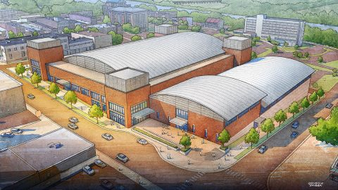 Artists concept for a Green Roof attached to Montgomery County Multi-Purpose Event Center.