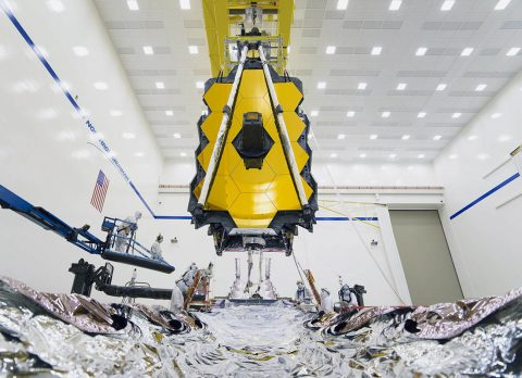 In August 2019, technicians and engineers successfully connect the two halves of NASA's James Webb Space Telescope for the first time at Northrop Grumman's facilities in Redondo Beach, California. (NASA/Chris Gunn)