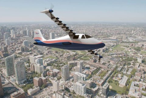 This illustration of NASA's X-57 Maxwell aircraft shows the plane's specially designed wing and 14 electric motors. NASA Aeronautics researchers will use the Maxwell to demonstrate that electric propulsion can make planes quieter, more efficient and more environmentally friendly. (NASA)