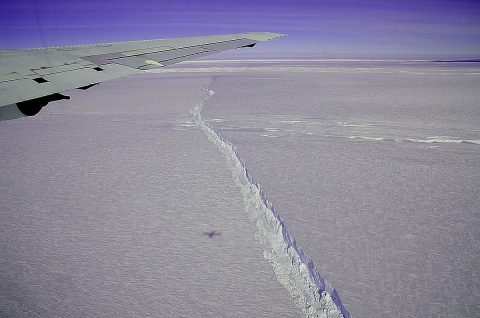 A photo from the window of NASA's DC-8 shows the rift across the Pine Island Glacier ice shelf running off toward the horizon. The plane flew across the crevasse on Oct. 26, 2011 as part of NASA's Operation IceBridge, and also flew directly over the rift for about 18 miles, taking detailed measurements of its depth, width and shape. The ice shelf hadn't calved a major iceberg since 2001, and IceBridge took advantage of the opportunity afforded by spotting the crack to fly over it and measure its characteristics. (NASA / Michael Studinger)