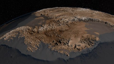 The new bedrock map of Antarctica developed in 2013 from IceBridge and other data was far more detailed than previous maps, giving researchers and modelers new information about how ice flows or sticks on the rock below the Antarctic ice sheet. (NASA / Cynthia Starr)