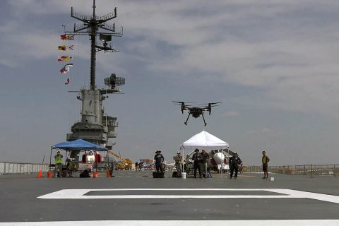 The retired USS Lexington aircraft carrier – now on display at Corpus Christi, Texas – was one of the sites where NASA and industry researchers during 2019 demonstrated increasingly complex traffic management capabilities flying Unmanned Aircraft Systems. (NASA)