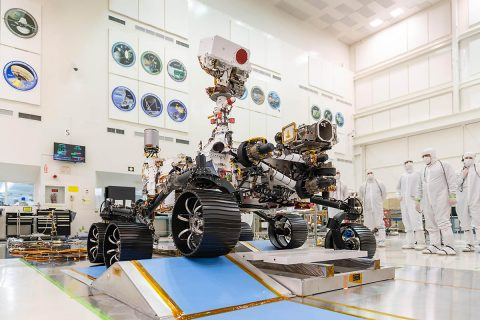 In a clean room at NASA's Jet Propulsion Laboratory in Pasadena, California, engineers observed the first driving test for NASA's Mars 2020 rover on December 17th, 2019. (NASA/JPL-Caltech)