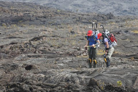Two BASALT project researchers take on the role of astronauts exploring Mars to collect scientific samples, during a simulated human space mission in 2016. Conducted on Hawaii's volcanic terrain, which bears similarities to landscapes on Mars, this research is designing and developing elements of future missions. (NASA)