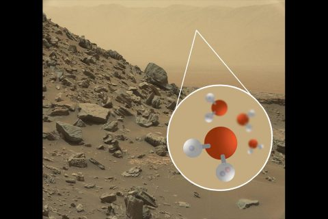 Image of a sloping hillside from the Mars Curiosity rover and an illustration of deuterated water molecules, called HDO instead of H2O because one of its hydrogen atoms has an extra neutrally charged particle. Infrared observations can study these particles that retrace the history of liquid water because the heavier molecules are more likely to remain even after liquid water has evaporated. (NASA/JPL-Caltech/MSSS/SOFIA)