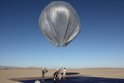 "A team of JPL engineers tests whether a large balloon can measure earthquakes from the air. The team proposes to measure ""venusqakes"" from the temperate upper atmosphere of Venus, using an armada of balloons. (NASA/JPL-Caltech)"