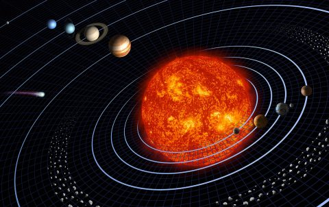 Our solar system features eight planets, seen in this artist's diagram. This representation is intentionally fanciful, as the planets are depicted far closer together than they really are. (NASA/JPL)