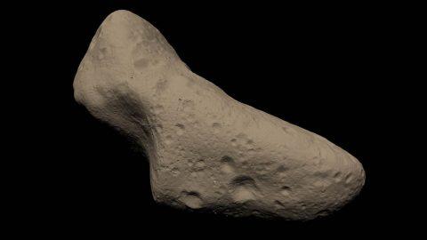 A 3D model of asteroid Eros. (NASA's Scientific Visualization Studio)