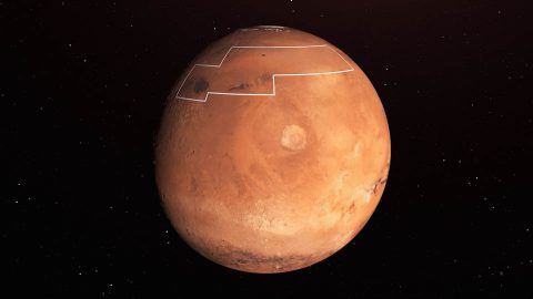 The area of Mars in this illustration holds near-surface water ice that would be easily accessible for astronauts to dig up. The water ice was identified as part of a map using data from NASA orbiters. (NASA/JPL-Caltech)