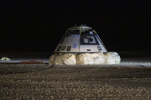 The Boeing CST-100 Starliner spacecraft is seen after it landed in White Sands, New Mexico, Sunday, December 22nd, 2019. The landing completes an abbreviated Orbital Flight Test for the company that still meets several mission objectives for NASA's Commercial Crew program. (NASA/Bill Ingalls)