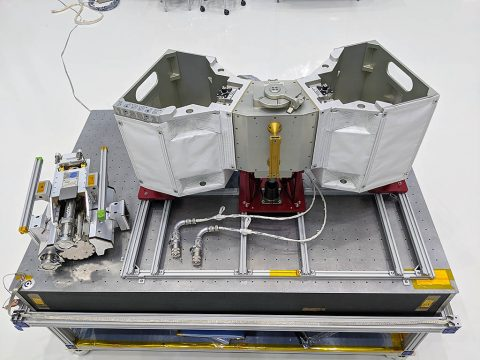 RELL Engineering Development Unit (left) pictured alongside RiTS flight unit that will fly to the International Space Station aboard SpaceX-19. (NASA)