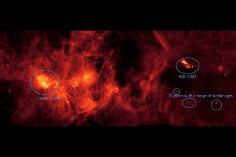 This annotated image of the Perseus Molecular Cloud, provided by NASA's Spitzer Space Telescope, shows the location of various star clusters, including NGC 1333. (NASA/JPL-Caltech)