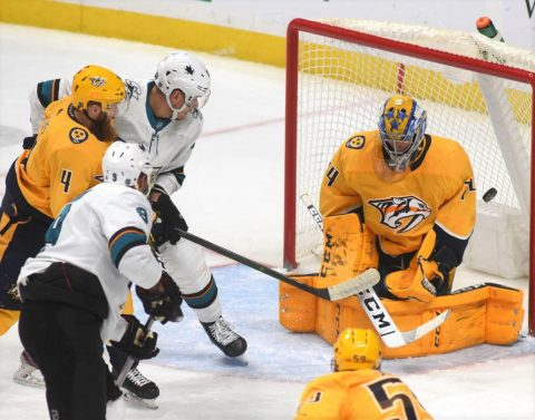 Nashville Predators goalie Juuse Saros blocks a shot against the San Jose Sharks as Nashville wins it, 3-1.  (Michael Strasinger)