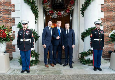 U.S. President Donald J. Trump meets with President Emmanuel Macron of France and Prime Minister Justin Trudeau of Canada in between meetings at Winfield House in London. (Official White House Photo by Shealah Craighead)