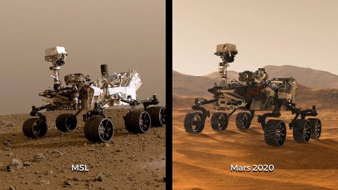 Illustrations of NASA's Curiosity and Mars 2020 rovers. While the newest rover borrows from Curiosity's design, each has its own role in the ongoing exploration of Mars and the search for ancient life. (NASA/JPL-Caltech)