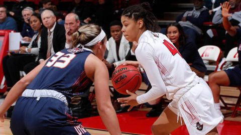 Austin Peay State University Women's Basketball senior Arielle Gonzalez-Varner has season high 22 points in loss to UT Martin Saturday afternoon at the Dunn Center. (Robert Smith, APSU Sports Information)