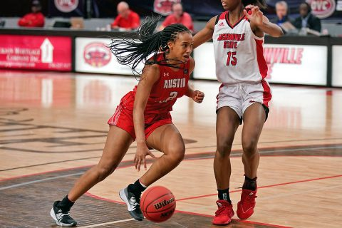 Austin Peay State University Women's Basketball use stiff defense to come back in the fourth and beat Jacksonville State 63-57 Saturday. (APSU Sports Information)