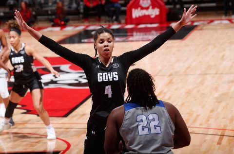 Austin Peay State University Women's Basketball senior Arielle Gonzalez-Varner scored 15 points in win over Tennessee State Thursday night. (Robert Smith, APSU Sports Information)
