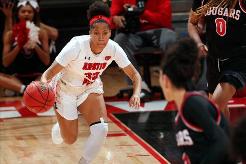 Austin Peay State University Women's Basketball junior Brandi Ferby scored 18 points including three 3 pointers in win over SIU Edwardsville at the Dunn Center, Thursday. (APSU Sports Information)