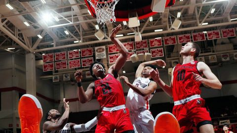 Austin Peay State University Men's Basketball cruises to 82-63 victory against UT Martin late Saturday afternoon at the Dunn Center. (Robert Smith, APSU Sports Information)