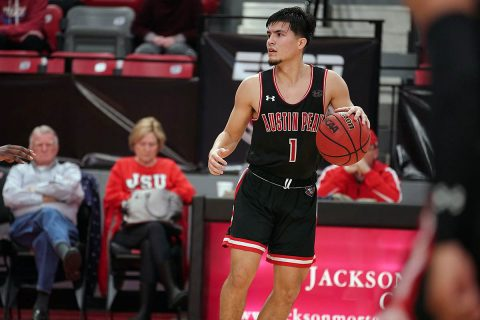Austin Peay State University Men's Basketball freshman Carlos Paez scored 16 points in the Governors 71-67 win over Jacksonville State, Saturday. (APSU Sports Information)