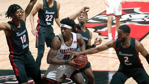 Austin Peay State University Men's Basketball junior #21 Terry Taylor had 37 points in victory over Tennessee State. (Robert Smith, APSU Sports Information)