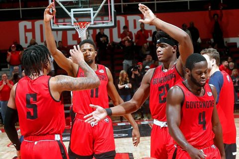 Austin Peay State University Men's Basketball remains undefeated in OVC play with 86-78 win over Belmont at the Dunn Center, Saturday. (Robert Smith, APSU Sports Information)