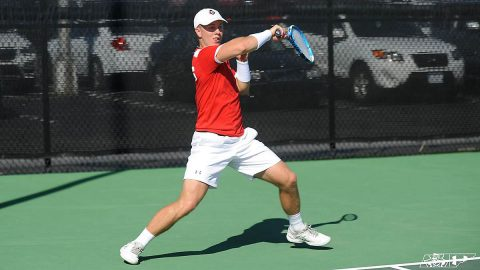 Austin Peay State University Men's Tennis falls in straight sets to Middle Tennessee Blue Raiders, 7-0. (APSU Sports Information)