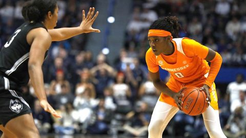 Tennessee Women's Basketball junior Rennia Davis had 16 points and 8 rebounds against UConn Thursday night. (UT Athletics)
