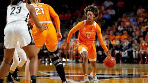Tennessee Women's Basketball sophomore #13 Jazmine Massengill poured in 14 points in Lady Vols victory over Vanderbilt in Nashville, Thursday night. (UT Athletics)