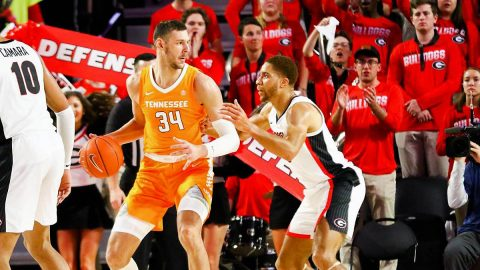 Tennessee Men's Basketball redshirt freshman transfer Uros Plavsic debut as a Vol Thursday night against Georgie. Plavsic had five points and three rebounds off the bench. (UT Athletics)