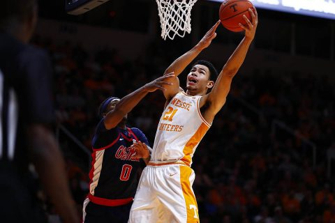 Tennessee Men's Basketball Freshman Oliver Nkamhoua had 10 points and 4 rebounds against Ole Miss Tuesday night at Thompson-Boling Arena. (UT Athletics)