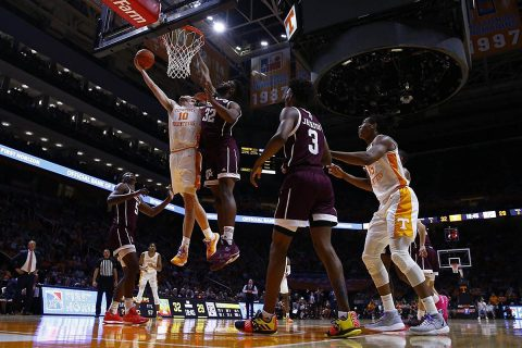 Tennessee Men's Basketball junior #10 John Fulkerson scored 15 points and pulled down 7 rebounds against Texas A&M Tuesday night. (UT Athletics)