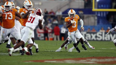 Tennessee Vols Football score 14 points in the fourth quarter for a 23-22 win over Indiana at the 75th TaxSlayer Gator Bowl. (UT Athletics)