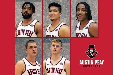 Austin Peay State University Men's Basketball freshmen (Top: L to R) Jordyn Adams, Carlos Paez, Alec Woodard, (Bot: L to R) Pavle Djurisic and Sam DeVault. (APSU Sports Information)