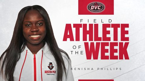 Austin Peay State University Women's Track and Field freshman Kenisha Phillips earns OVC Female Athlete of the Week. (APSU Sports Information)