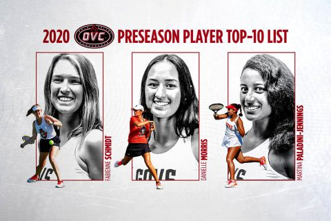 Austin Peay State University Women's Tennis players Fabienne Schmidt, Danielle Morris, and Martina Paladini-Jennings named to the 2020 OVC Women's Tennis Preseason Top 10 List. (APSU Sports Information)
