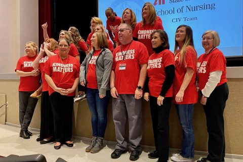 Austin Peay State University School of Nursing faculty prepare to speak to students during the civility ceremony. (APSU)