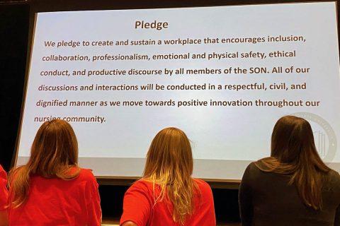 Austin Peay State University School of Nursing students take the civility pledge. (APSU)
