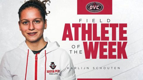 Austin Peay State University Track and Field's Karlijn Schouten named OVC Field Athlete of the Week. (APSU Sports Information)