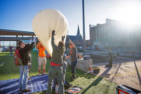 Austin Peay State University physics students launch the balloon from Downtown Commons. (APSU)