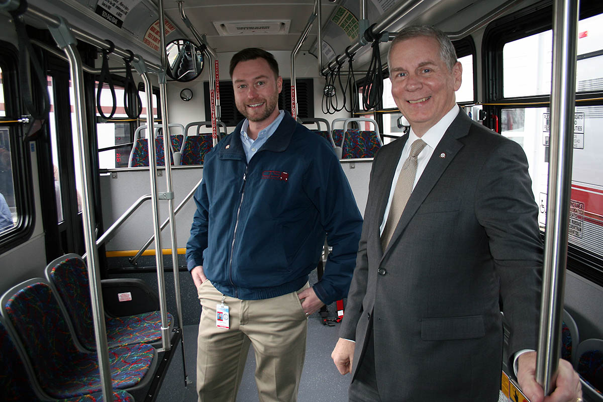 Clarksville Mayor Joe Pitts, right, joined CTS Director Paul Nelson on Wednesday for a tour of the new vehicles.