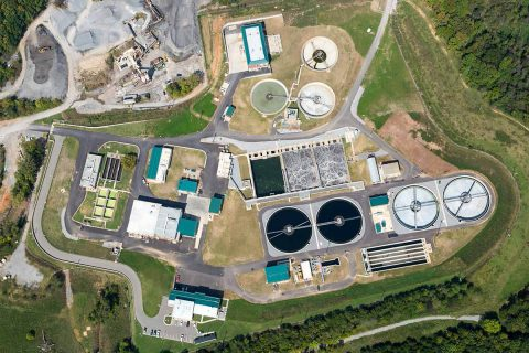 Aerial photo offers an overview of Clarksville's modern wastewater treatment plant, which was expanded and improved after sustaining damage in the Flood of 2010.