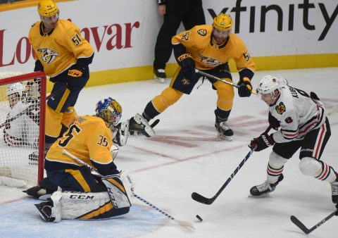 Nashville Predators defeat the Chicago Blackhawks 5-2. (Michael Strasinger)