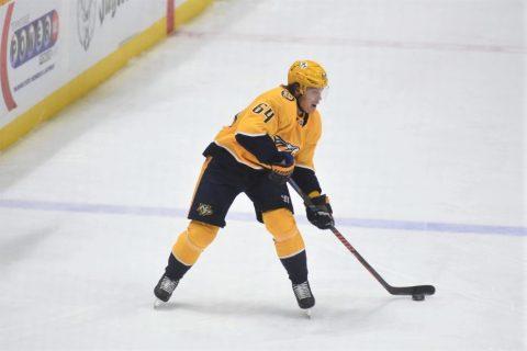 Nashville's Mikael Granlund lines up a shot as the Predators defeat the Washington Capitals 5-4.  (Michael Strasinger)