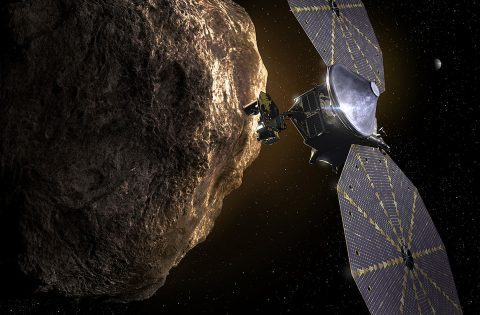 Artist rendition of NASA's Lucy spacecraft orbiting the asteroid Eurybates. (NASA)