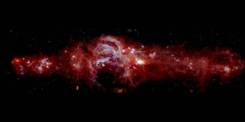 Composite infrared image of the center of our Milky Way galaxy. It spans 600+ light-years across and is helping scientists learn how many massive stars are forming in our galaxy's center. (NASA/SOFIA/JPL-Caltech/ESA/Herschel)